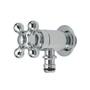 G102-M 蛇口 ガーデン ホース接続クロス水栓 (クロム) 立水栓用ホース栓 おしゃれ蛇口 屋外用|papasalada