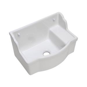 おしゃれ 洗面ボウル 壁掛け手洗器 バケットタイプ 角形 国産 横水栓用 手洗いボウル|papasalada