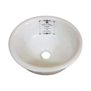 L-CRO-WS1602 小型手洗器 可愛い洗面ボウル ラメゾン 手洗い器(φ300mm) クラウンアイボリー プランドパリ papasalada
