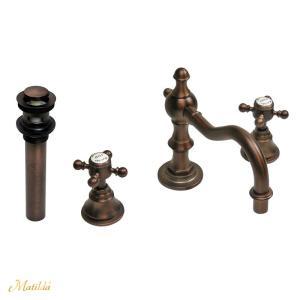 蛇口 混合栓 マチルダ スパニッシュ・キャッスルCC(ブロンズ)排水金具セット(プッシュ式ドレンユニット32/横穴付き)付属|papasalada