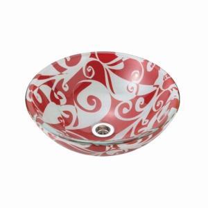 洗面ボウル おしゃれ ガラス ガーネット 赤 ガラスボウル 置き型 埋め込み 小型 手洗い器 Sサイズ φ310×110mm|papasalada