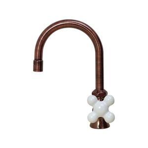 蛇口 おしゃれ ハンドル 単水栓 PIVOT(ピヴォ)スワン立水栓(クロスハンドル・ブロンズ) 陶器ハンドル付き蛇口 papasalada