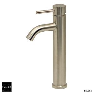 ステンレス蛇口fusion 混合水栓 SSL264 ステンレス・シングルレバー洗面用混合栓(トールタイプ) フュージョン水栓金具|papasalada