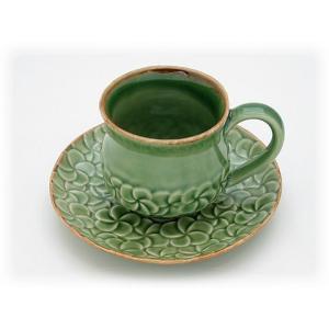 ジェンガラ ケラミック食器/JENGGALA/ フランジパニ Tea Coffee Cup with Frangipani Motif C-2274-R-1832-147-CL|paradox-crafts