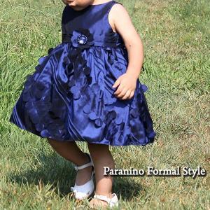 在庫一掃セール/ ベビードレス フォーマル 女の子 80-90cm ネイビー エレナ|paranino-formalstyle