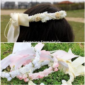フラワーティアラ 花冠 フォーマルヘアアクセサリー 子供用 ピンク ホワイト アイボリー 結婚式 フラワーガール (DM便不可)|paranino-formalstyle