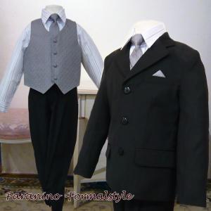 フォーマル 男の子 子供スーツ 男子 スーツ 5点セット ブラック グレー 218-black 110.120.130.140.150cm|paranino-formalstyle