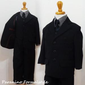 フォーマル 男の子 子供スーツ 男子 スーツ 5点セット ストライプシャツ ホワイト 90~150cm 卒業式 入学式 paranino-formalstyle