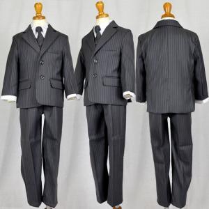 フォーマル 男の子 子供 スーツ 90.100.110.120.130cm (fg234 ストライプ グレー) 長袖 長ズボン 3ボタン 5点セット|paranino-formalstyle