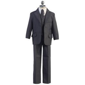 フォーマル 男の子 子供 スーツ 90.100.110.120.130cm (fg234 ストライプ グレー) 長袖 長ズボン 3ボタン 7点セット|paranino-formalstyle