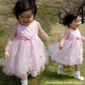 在庫一掃セール/ ベビードレス フォーマル 女の子 80-90cm ピンク サラ|paranino-formalstyle