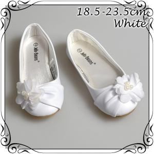 サマーセール/ フォーマル靴 フラット シューズ 女の子 ホワイト 18.5-23.5cm|paranino-formalstyle