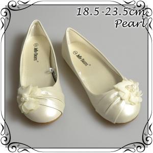 フォーマル靴 フラット シューズ 女の子 パール/アイボリー 18.5-23.5cm|paranino-formalstyle