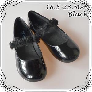 フォーマル靴 フラット シューズ 女の子 ブラック 18.5-23.5cm|paranino-formalstyle