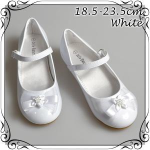 フォーマル靴 フラット シューズ 女の子 ホワイト 18.5-23.5cm|paranino-formalstyle