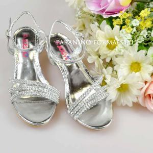 在庫一掃セール/ フォーマル靴 女の子 17-20.5cm シルバー サンダル シューズ|paranino-formalstyle