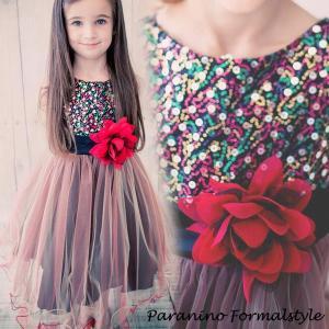 子供 ドレス フォーマル 女の子 100-150cm レッド ベル|paranino-formalstyle