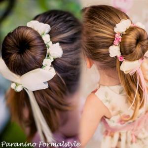 DM便対応/ ミニ フラワー ティアラ 花冠 ポニーテール ヘアアクセサリー 婦人 子供用 結婚式 フラワーガール|paranino-formalstyle
