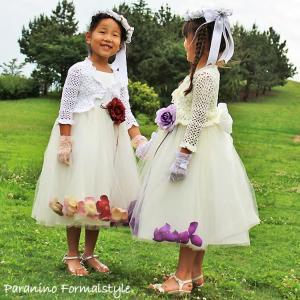 カーディガン かぎ編みボレロ 子供用 女の子 フォーマル 100-140cm ホワイト アイボリー (フォーマル お受験 無地 スクール)|paranino-formalstyle