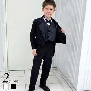 タキシード 60〜130cm ホワイト ブラック ベスト 5点フルセット フォーマルウェア 子供タキシード|paranino
