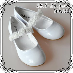 フォーマル靴 フラット シューズ 女の子 ホワイト 18.5-23.5cm|paranino