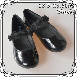 フォーマル靴 フラット シューズ 女の子 ブラック 18.5-23.5cm|paranino
