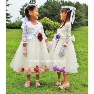 年末大SALE/ カーディガン かぎ編みボレロ 子供用 女の子 フォーマル 100-140cm ホワイト アイボリー フォーマル|paranino