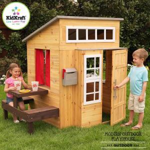 モダン アウトドア プレイハウス 木製 子供のお家 据置型 組立 大型遊具 キッドクラフト kidkraft 00182|paranino