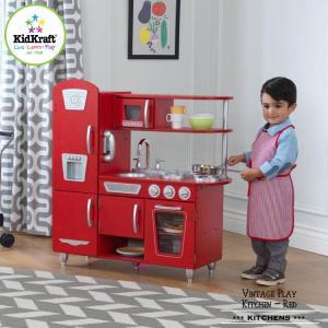 ままごと キッチン レッド ビンテージ 大きい 木製 キッチン キッドクラフト kidkraft|paranino