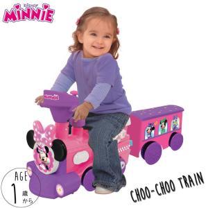 乗物玩具 ディズニー ミニーマウス ライドオン トレイン 荷台付き 1歳から 汽車 電動 足けり 乗用 disney_y|paranino