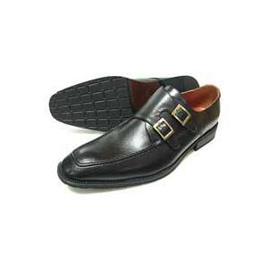 SEVENTH STREET ダブルモンクストラップ ビジネスシューズ(紳士靴)黒|parashoe