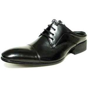 LASSU&FRISS 本革 ストレートチップ ビジネススリッパ(ビジネスサンダル)黒/メンズ革靴 紳士靴|parashoe