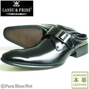 LASSU&FRISS 本革 モンクストラップ ビジネススリッパ(ビジネスサンダル)黒/メンズ革靴 紳士靴|parashoe