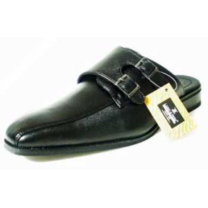 LASSU&FRISS ダブルモンクストラップ ビジネススリッパ(ビジネスサンダル)黒/メンズ 紳士靴 parashoe