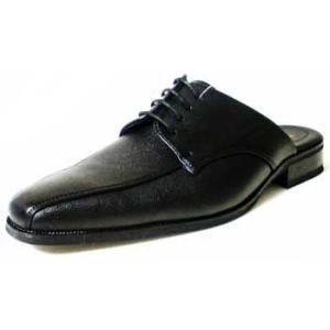 LASSU&FRISS スワールモカ ビジネススリッパ(ビジネスサンダル)黒/メンズ 紳士靴 parashoe