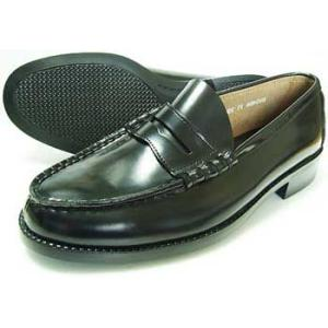 BRAVAS 本革 コインローファー ビジネスシューズ 黒 メンズ(男性用)/革靴 学生靴 通学靴|parashoe