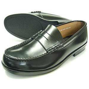 BRAVAS Lapel コインローファー ビジネスシューズ 黒 メンズ(男性用)/紳士靴 学生靴 通学靴|parashoe