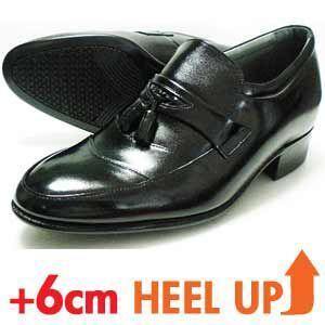 REGORGER 本革 タッセルスリップオン シークレットヒールアップ ビジネスシューズ(革靴 紳士靴)黒|parashoe