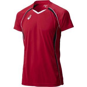 メール便OK □ASICS(アシックス) XW1316 バレーボール ゲームシャツ HS ブラック×Vレッド 半袖シャツ|paraspo