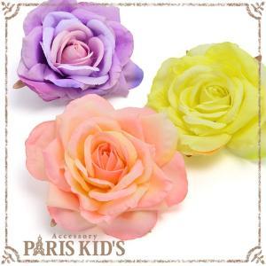 コサージュ 浴衣 髪飾り ローズ バラ 花 ブローチ ヘアアクセサリー ヘアアクセ祭り 盆踊り|pariskids-net