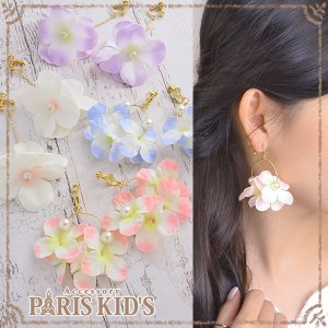 イヤリング 造花 チェーン フラワー 花 揺れる フープ スウィング パール パステル ゴールド j3s|pariskids-net