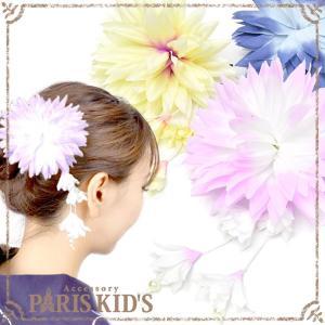 ヘアアクセサリー 飾り紐さがり お花 ヘアクリップ j3s|pariskids-net
