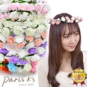 花かんむり 花冠 ウェディング ヘッドドレス ローズ フラワー チュール 髪飾り 安い j3s|pariskids-net
