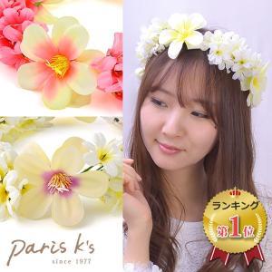 花かんむり 花冠 トロピカル フラワー ティアラ ハワイアン ピンク ホワイト 安い 造花|pariskids-net