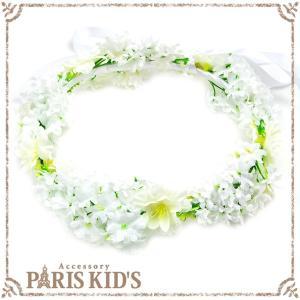 花かんむり 花冠 造花 ホワイト 白い 結婚式 ヘアアクセサリー フェス ティアラ 安い|pariskids-net