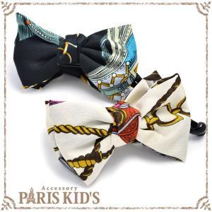 バナナクリップ スカーフ柄 ヘアアクセサリー リボン りぼん アイボリー ブラック|pariskids-net