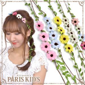 ヒッピーバンド ヘッドドレス ヘッドアクセ 花かんむり 花冠 造花 安い 髪飾り 花 フラワー j3s|pariskids-net