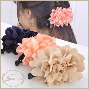 ■ バナナクリップ ヘアアクセサリー フラワー ピンク ベージュ ネイビー お花 可愛い|pariskids-net