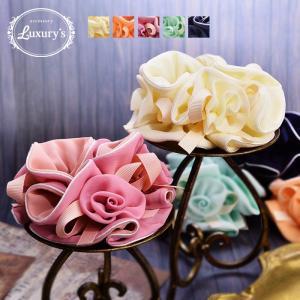 シュシュ ヘアゴム ヘアアクセサリー ヘアアクセ 花 バラ 薔薇 フラワー ローズ リボン Luxury's パステル 大人|pariskids-net