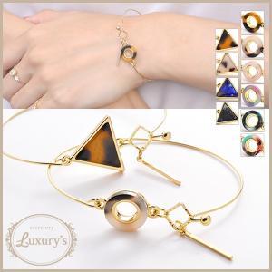 バングル ブレスレット べっ甲風 華奢 マーブル ラウンド 三角 トライアングル Luxury's ゴールド シンプル|pariskids-net